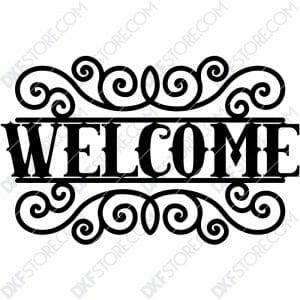Welcome Sign Free Outdoor Decorative Insert Free DXF File