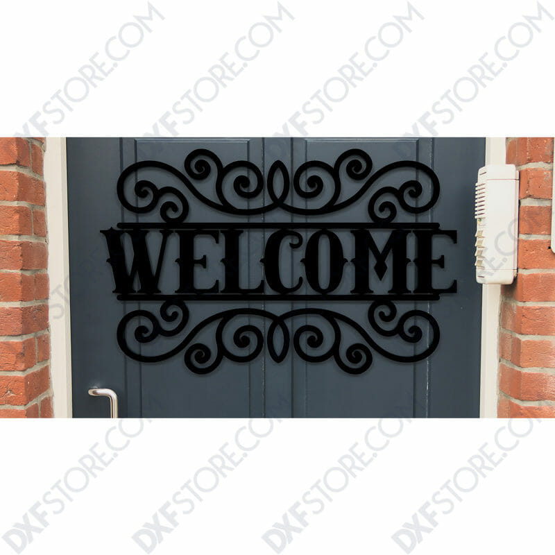 Welcome Sign Outdoor Decorative Insert Free DXF File
