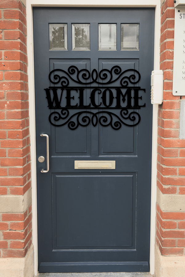 Welcome Sign Outdoor Decorative Insert Free DXF File Scene